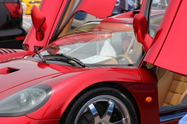 バタフライドアが開けられた赤いスポーツカー