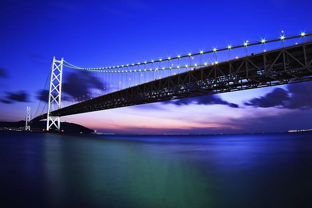 夕方の橋のある風景