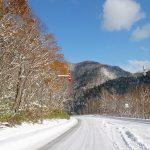 雪道と雪山