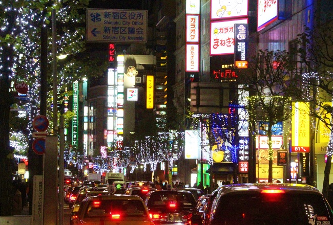 渋滞する繁華街